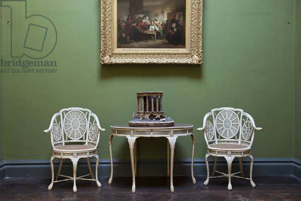 Filigree ivory table and burgomeister chairs, Sir John Soane's Museum, London (photo)
