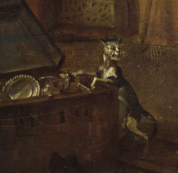 Cat with a chest, detail from 'A Rake's Progress I: The Rake Taking Possession of his Estate', 1733 (oil on canvas) (detail of 72326)