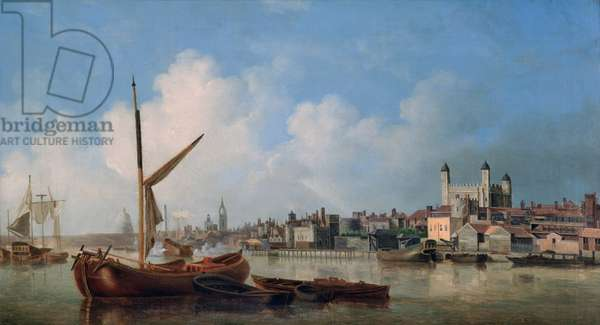View of the River Thames, near the Tower of London (oil on canvas)