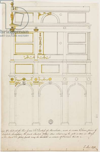 Design for the Kimbolton Cabinet (pen & ink with w/c on paper)