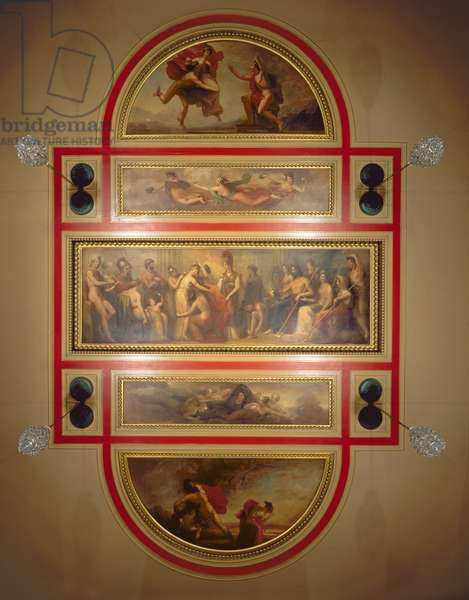 Ceiling in the Library and Dining Room, depicting the Legend of Pandora, c.1834 (oil on panel)