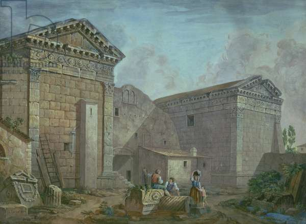 Temple of Augustus, Pola, Istria (gouache on paper)