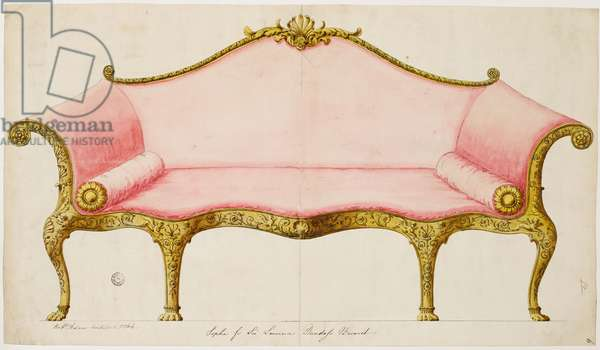 Finished drawing for a sofa for the saloon, as executed, 1764 (pen & ink with wash on paper)