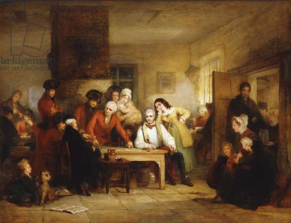 The Smoking House at Chelsea Hospital: Pensioners Describing the Battle of Corunna, 1834 (oil on canvas)