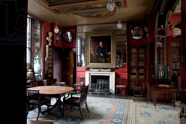 Sir Thomas Lawrence's portrait of Soane from 1829 presides over the north end of the Library-Dining Room, Sir John Soane's Museum, London (photo)