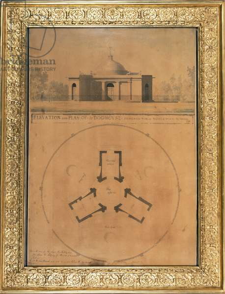 Elevation and Plan of a Dog House, 1779 (pen and ink and w/c on paper)
