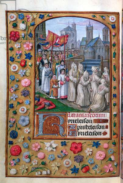 MS Vol. 137 f.136v  The Procession of Pope Gregory I (c.540-604) through Rome in 590, from the litanies of a Book of Hours, French, early 16th century (vellum)