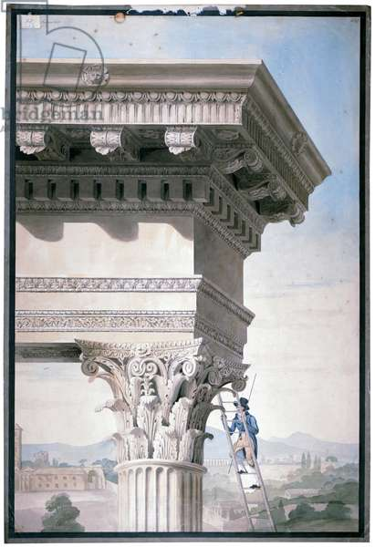 Student measuring the Temple of Castor and Pollux in Rome, 1819 (w/c on paper)