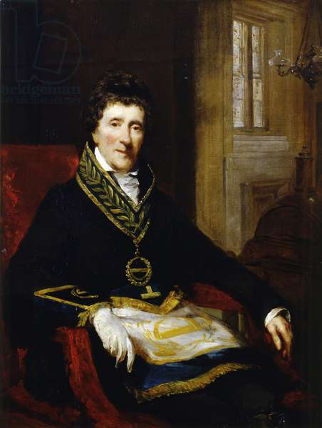Sir John Soane, in Masonic Costume, as Grand Superintendent and President of the Board of Works, 1828-29 (oil on panel)