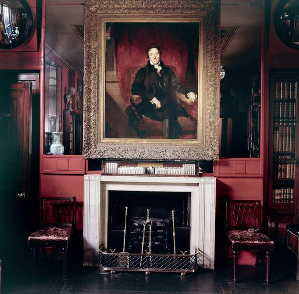 Sir Thomas Lawrence's 'Portrait of Sir John Soane' in situ over one of the chimneypieces in the Library-Dining Room, Sir John Soane's Museum, London (photo)