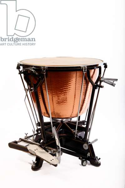 Dresden style Timpani by Ludwig, with natural skin, or calf head. Showing the tuning gauge and pedal