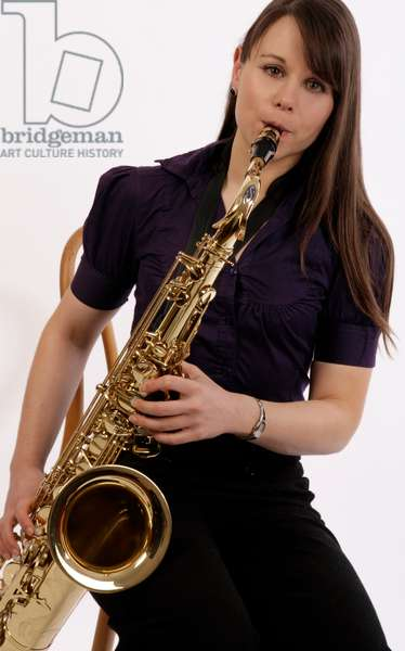 Tenor saxophone in playing position