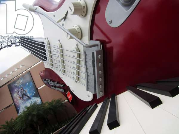 rock guitar and keyboard from the Aerosmith ride, Hollywood Studios, Disney, Florida USA