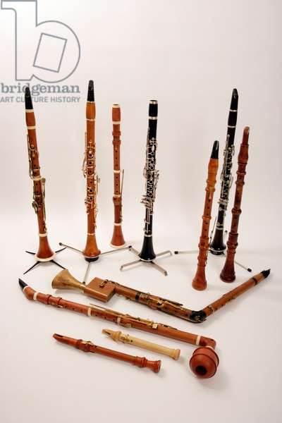 Collection of baroque and classical period woodwind instruments