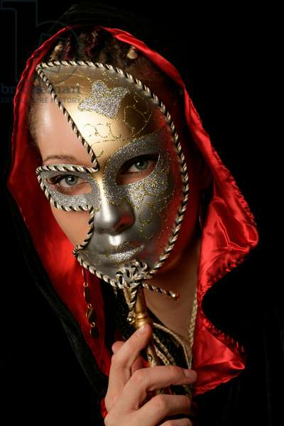 Young woman wearing a mask