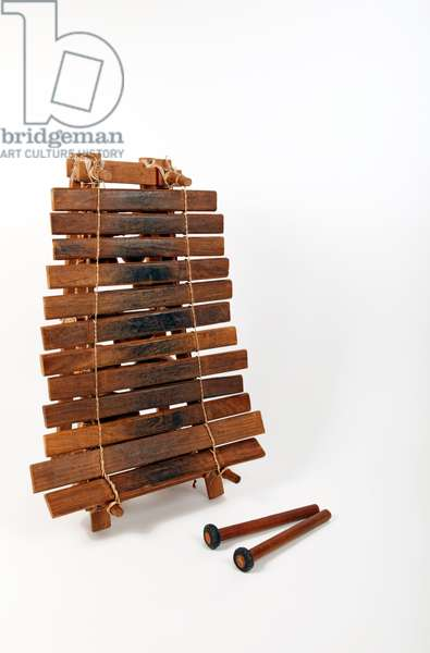 An African Marimba, Balafon or Balafo, with gourd resonators.. An African  percussion instrument made from wood - generic