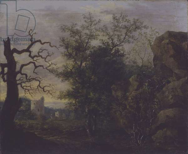 Landscape with bare tree, c.1798 (oil on canvas)