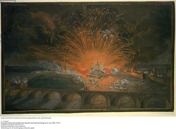 Fireworks on the Elbe on the Occasion of the Visit of the King of Denmark, 6 June 1709, c.1709 (opaque w/c on paper)