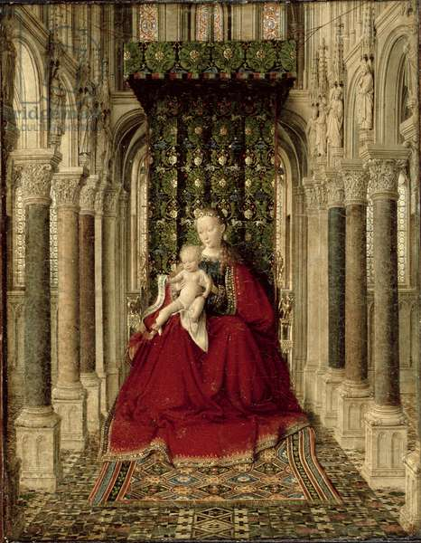 Winged Altarpiece (Virgin and Child with St. Michael, St. Catherine and a Donor) 1437 (oil on panel) (detail of 74153)