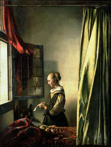 Girl at a Window Reading a Letter (oil on canvas)