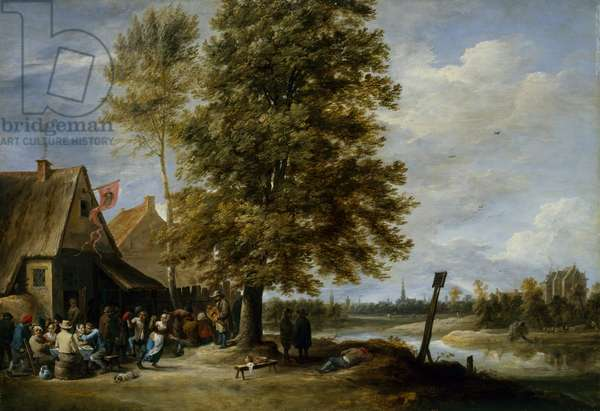 Tavern on the river before the city, mid 1640s (oil on panel)