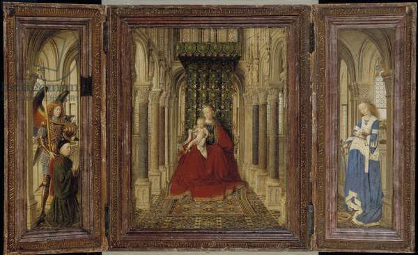 Winged Altarpiece (Virgin and Child with St. Michael, St. Catherine and a Donor) 1437 (oil on panel)