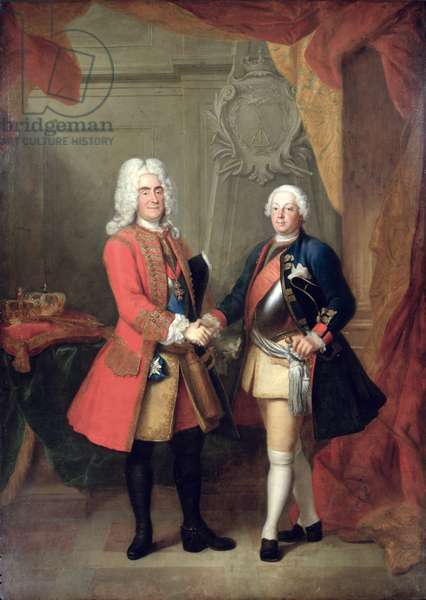 Augustus II (1670-1733) Elector of Saxony and King of Poland with King Friedrich Wilhelm I of Prussia (1688-1740) (oil on canvas)