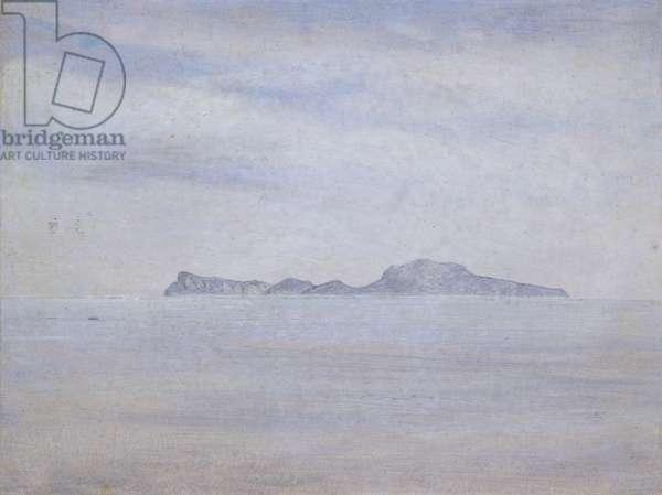 Island in the Sea (Capri), 1828 (oil on board)