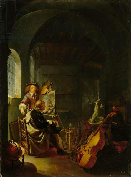 In the Artist's Studio, c.1665-60 (oil on oak panel)