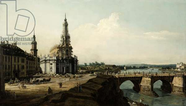 Dresden from the Left Bank overlooking the Old Town Bridge, 1748 (oil on canvas)