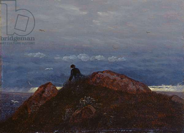 Passage tomb with resting traveller (oil on canvas)