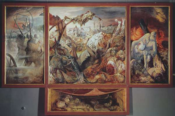 War, 1932 (mixed media on panel)