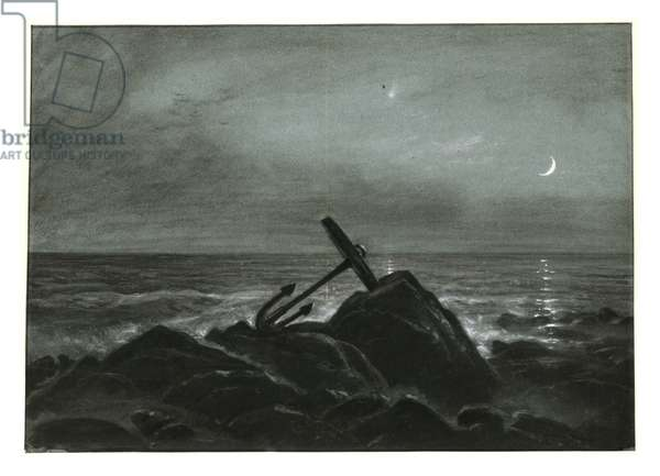 At the beach, anchor in the moonlight, after 1851 (charcoal on paper)