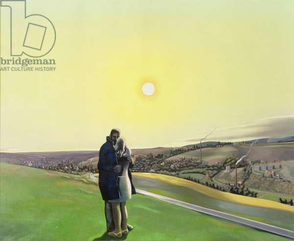 Lovers in a landscape, 1972 (oil on hardboard)