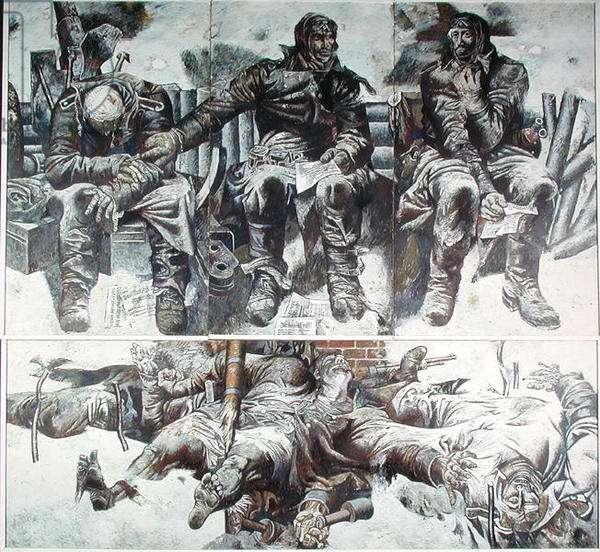 The Survivors, 1963 (mixed media on hardboard)
