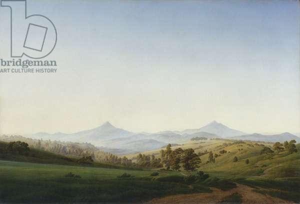 Bohemian Landscape with Mount Milleschauer, 1808 (oil on canvas)