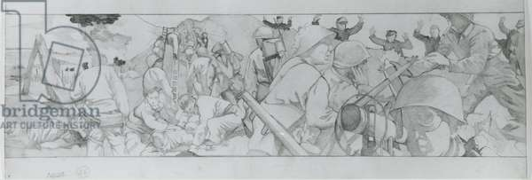 American troops move inland after D-Day taking German prisoners (pencil on paper)