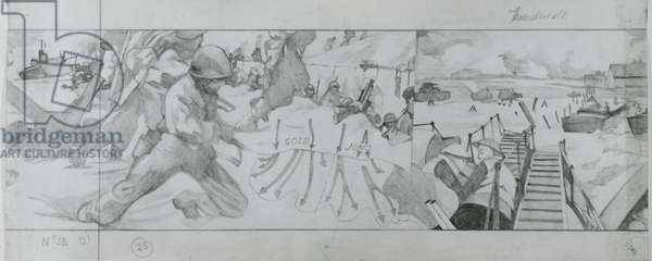 A German division fires on American troops landing at Omaha beach on June 6th (pencil on paper)