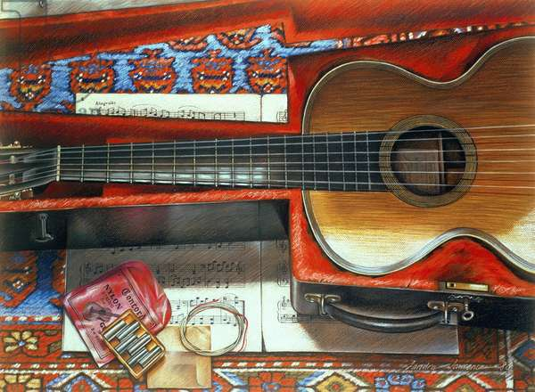 Still Life with Guitar, 1980 (pastel on paper)
