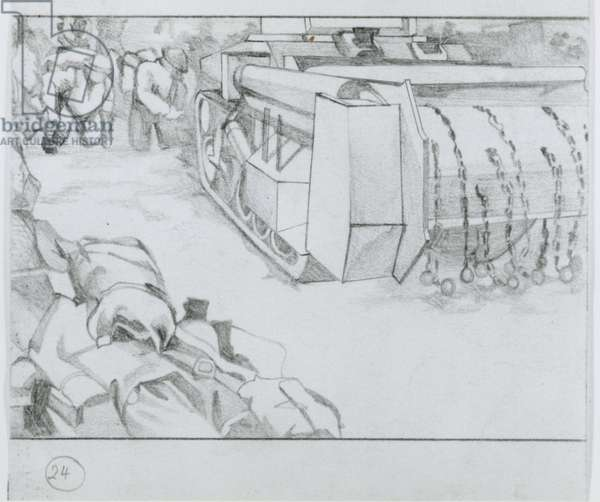 British 79th Armoured Division's flail tanks (pencil on paper)
