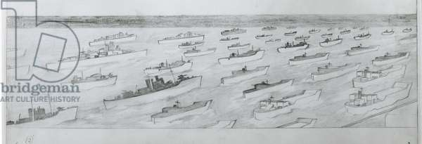 The invasion convoys set sail for Normandy on June 5th (pencil on paper)