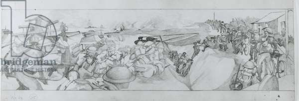 The British and Canadian assault is assisted by the 79th Armoured Division's bridging tanks on June 6th (pencil on paper)
