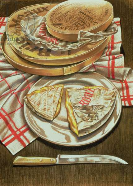 Farmhouse Camembert and Brie, 1984 (pastel on paper)