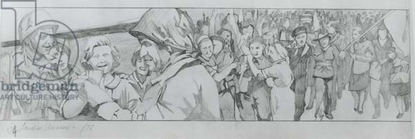 First sketch for the last panel showing jubilation and liberation (pencil on paper)