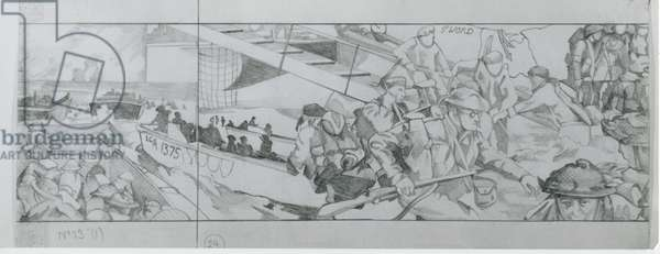 British and Canadian troops head for the beaches in their assault landing craft on June 6th (pencil on paper)