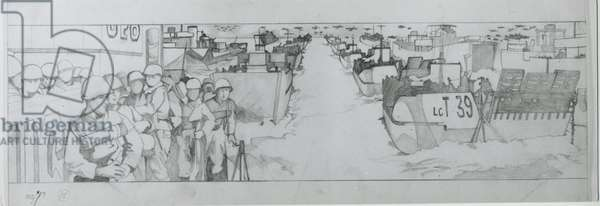 Invasion foces assemble off the Normandy coast before dawn on June 6th (pencil on paper)
