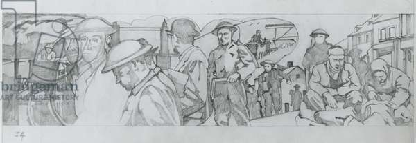 A sketch for the last panel showing peacetime occupations (pencil on paper)