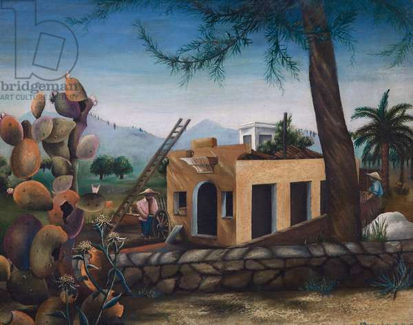 Building a House in Spain, cactus, 1953 (oil on canvas)