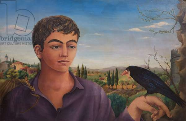 Boy with Raven, 1962 (oil on board)