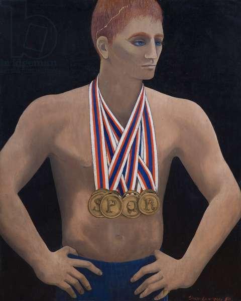 Roman Medal Winner, 1977 (oil on board)
